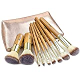Matto Make-up Brushes 9-Piece Bamboo Makeup Brush Set with Make Up Brushes Travel Cosmetics Bag