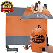 Chanvi Large Beach Blanket Handy Sand Mat- Extra Size 9' x 10' Holds 7 Adults with Strap - Perfect for