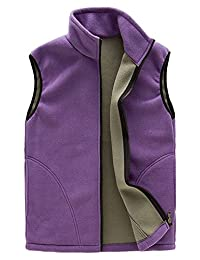 Womens Zip Up Athletic Gilets Sleeveless Fleece Vest Solid Color Outfit Jacket