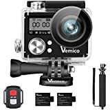 Action Camera, Vemico Sports Action Cam 4K WIFI Waterproof Camera Underwater Camera Helmet Camera 16MP Dual Screen Full HD with 2.4G Remote Control and 2pcs 1050mAh Batteries and Selfie Stick