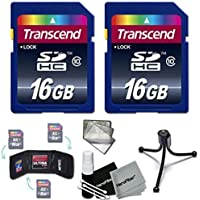 Transcend 32GB High Speed Class 10 SD MEMORY CARD (2 x 16GB Memory Cards) for Canon EOS 70D 60D 6D 5D Mark II 7D Mark II EOS Rebel T6i T6S T5i T5 T4i T3i T3 T2i SL1 EOS 750D 700D 650D 600D 550D 1200D 1100D 100D EOS M3 M2 T1i XTi XT SL1 XSi DSLR Ca