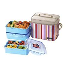 Lock & Lock Square Lunch Box with BPA Free Food Containers with Leak Proof Locking Lids and Insulated Pink Square Lunch Bag, 3-Piece Set