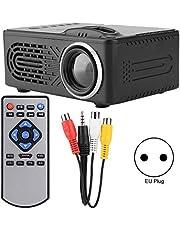Lecxin HD-projector, 814 multifunctionele duurzame mini digitale HD-projector zwart 1080p ondersteuning externe mobiele harde schijf, TF-kaart, U-schijf, STB-multimedia-videodecodering(EU)