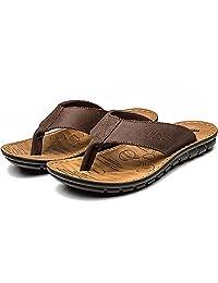 FLY HAWK Men's Leather Fanning Sandals Casual Shock Proof Summer Slippers Flip-Flops Outdoor Beach