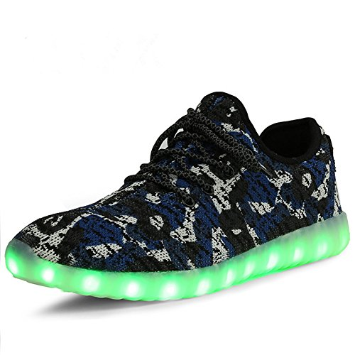 THEZX Led Light up Shoes Shoes Shoes Men's & Women's Fashion Breathable Knitting Casual Running Sneakers (4, Blue) B072P6WQBJ Shoes 0fc545