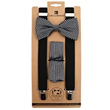 Men's Black & Silver Stripe 3 PC Clip-on Suspenders, Bow Tie and Hankie Set