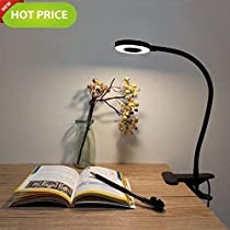 Foneso LED Desk Lamp, Adjustable 2 Mode Cold/Warm Light, Natural Light Switch Clip Desk Light Bulb Clamp Flexible Gooseneck 360 Degree for Learning, Reading, Working