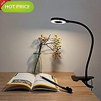 Foneso LED Desk Lamp, Adjustable 2 Mode Cold/Warm Light, Natural Light Switch Clip Desk Light Bulb Clamp Flexible Gooseneck 360 Degree for Learning, Reading, Working