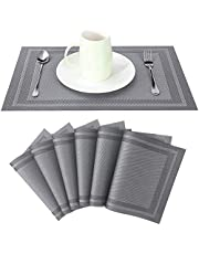 ADRIMER Placemats for Dining Table Set of 6, Heat Insulation & Stain Resistant Washable Place Mats, Durable Non-Slip PVC Kitchen Table Mats, Silver Gray