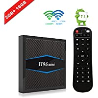 [H96 Mini Android 7.1 TV Box] EstgoSZ Newest Version Android TV Box 2G 16G Amlogic CPU Support 2.4G/5G Dual Wifi/100M LAN/BT 4.0/3D /H265 4K Smart TV Box