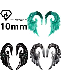 Wings 10mm Fuego Elves Mix Colors Acrylic Wings Spiral Taper Plug Gauge Ear Stretching Kit, Vintage Angel Wings 3 Pairs Tapers Tunnels Plugs Ear Stretching