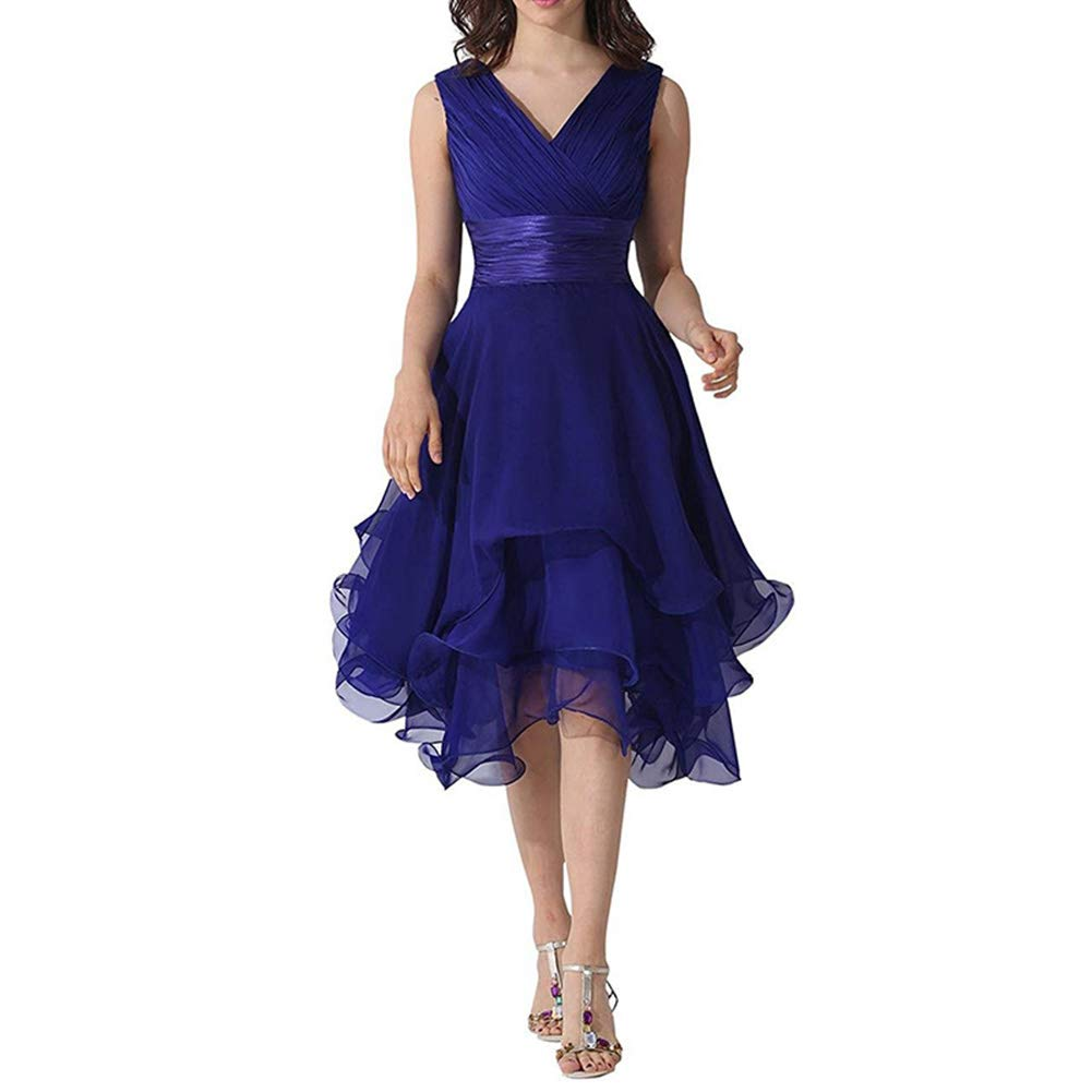 bluee Women's VNeck Halter Homecoming Dress Tulle Short Prom Dress for Bridesmaid Cocktail Party Evening Dresses