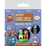 Super Mario Badge Pack - Bros., Retro 1 X 38mm & 4 X 25mm Badges (6 x 4 inches)