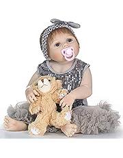 دمية طفل حديث الولادة من ديكديل 55.88 سم من الفينيل الناعم الكامل من السيليكون دمية طفل نابضة بالحياة لعبة حمام هدية للأطفال بعمر 3 سنوات فما فوق مع سترة وردية قطيفة ألعاب, رمادي