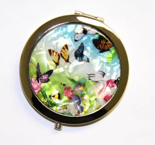 Purse Handbag Double Compact Cosmetic Mirror - Butterflies