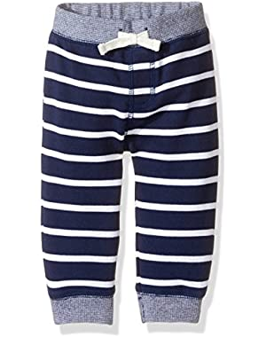 Baby Toddler Boys' Striped Navy Knit Pant