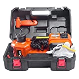 MPLUS 3 in 1 12V DC 5T (11023lb) Electric Hydraulic Floor Jack with inflator Pump and Flashlight Portable Car Repair Tool Kit Ideal for Vehicle Repairing and Tire Replacing