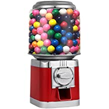 "Mophorn Gumball Candy Vending Machine Durable Metal Candy Dispenser Machine 375 of 1"" Gumballs Capacity $150 in Quarters Gumball Dispenser Piggy Bank Bulk Vending Gumball Machine (Red)"