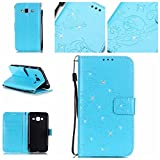 Samsung Galaxy J3 (2016) Case,Premiun Wallet Leather Credit Card Holder Butterfly Flower Pattern Flip Stand Case for Samsung Galaxy J3 (2016) With a Wrist Strap - Blue