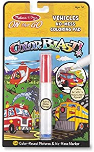 Melissa & Doug On the Go Color Blast! Bloc de Colorear Sin Manchas, Vehículos (24 Imágenes Revela Color, M