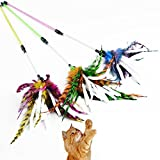 Cat Feather Toy, Legendog 3Pcs Cat Teaser Wand Spiral Rod Feather Paper Cat Interactive Toy