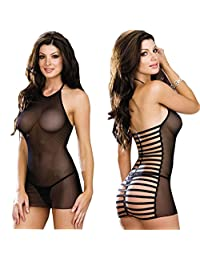 Puda Womens Sexy Lingerie Black Perspective Elastic Gauze Babydoll Pajamas