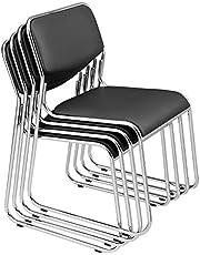 [pro.tec] Silla de Oficina/Silla de Trabajo - Asiento y Respaldo Acolchado - Tapicería de Cuero sintético - Elegante - Negro - 4 x sillas