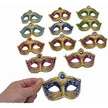 Yiseng Small Masquerade Masks Party Decoration 12pcs Set Luxury Feather Mini Masks Mardi Gras Halloween Decor Novlety Gifts