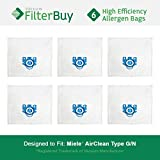 6 - Miele GN Vacuum Bags. Miele Parts #s 7189520 & 10123210. Designed by FilterBuy to replace Miele AirClean GN Vacuum Bags