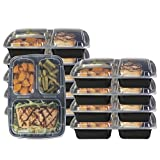 Glomery Goods 3 Compartment Bento Lunch Boxes with Airtight Lids - Stackable, Reusable, Microwave, Dishwasher & Freezer Safe - Meal Prep, Portion Control, 21 Day Fix & Food Storage Containers (7-Pack)
