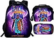 Space jam backpack 3 piece set backpack for Travel bag and Lunchbox and Pencil Pouch