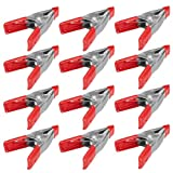 """Wideskall 2"""" inch Mini Metal Spring Clamps w/Red"""