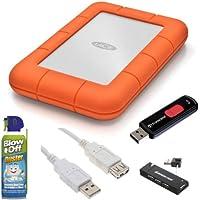 LaCie 9000298 Rugged Mini Disk USB 3.0 2TB EXternal Hard Drive + Transcend 4GB JetFlash 500 USB 2.0 Flash Drive + Accessory Kit