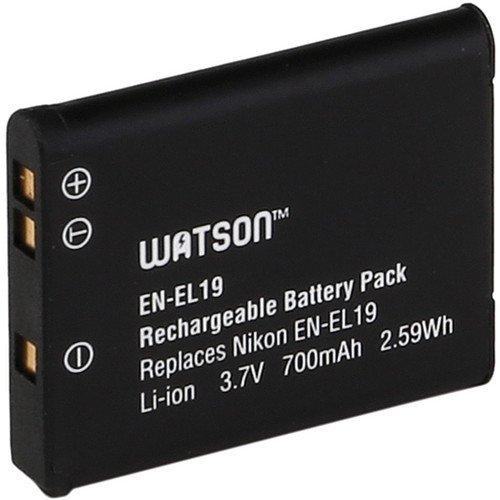 Watson EN-EL19 Lithium-Ion Battery Pack (3.7V, 700mAh) -Replacement for Nikon EN-EL19 Battery Nikon COOLPIX:S6500, S5200, S6400, S4300, S3300, S4100, S3100