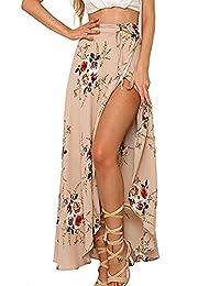 Amknn Women's Boho Floral Print High Waist Summer Beach Wrap Maxi Skirt Cover Up