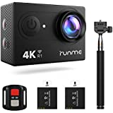 RUNME R1 4K Action Camera, 12MP WiFi Sports Camera 170° Wide-Angle 100FT Underwater Camcorder Full HD Helmet Camera with 2.4G Remote Control and 2Pcs 1050mAh Batteries, Selfie stick 19 Accessories