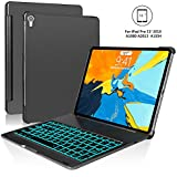 iPad Pro 11 Keyboard Case - Boriyuan Protective Ultra Slim Hard Shell Folio Stand Smart Cover with 7 Colors Backlit Wireless Bluetooth Keyboard for iPad Pro 11 inch 2018 Tablet (Black)