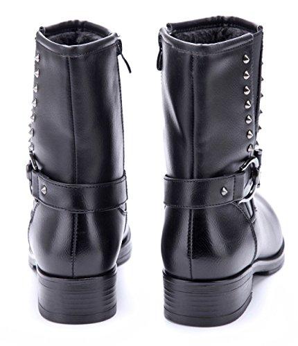 f3d4907900bcc0 Damen Schuhe Klassische Stiefeletten Stiefel Boots Braun Blockabsatz Nieten  4 cm Schuhtempel24