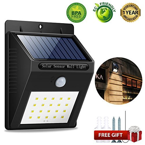 Solar Lights Outdoor, Wireless 20 LED Motion Sensor Solar Lights Waterproof Security Lights Solar Lights Outdoor Motion Sensor Lights Outdoor Lights for Deck, Yard, Patio, Garden, Fence, Driveway