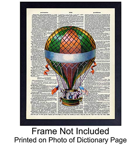 Pink Stripe Balloon - Wall Art Print on Dictionary Photo - Ready to Frame (8x10) Vintage Photo - Great Gift for Steampunk Fans and Hot Air Balloon Enthusiasts - Chic Home Decor - Colorful