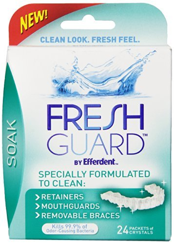 Fresh Guard Soak Specially Formulated for Retainers Mouthguards and Removable Braces, 24 Count (Pack of 4)