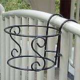 Kicode colgando Bastidores balcón de la planta Creativa Metal Hierro Cruz ronda Estante Tiesto floral decorativo Pasamano de la cerca al aire libre