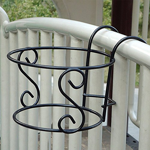 Kicode Hanging Racks Balcony Plant Creative Metal Iron Round Cross Flower Pot Rack Decorative Floral Railing Fence Outdoor