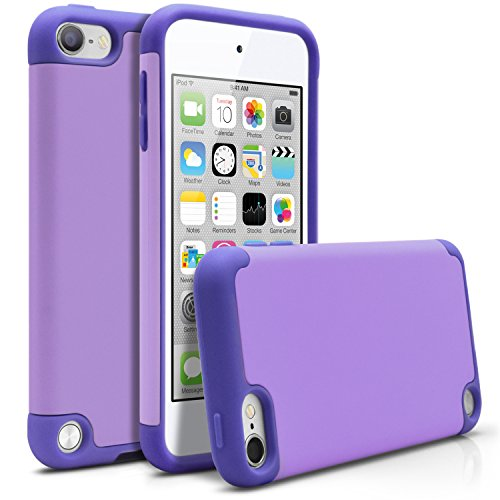 iPod Touch 5 Case, MagicMobile Hybrid Ultra Protective Thin Armor Dedenfer For Apple iPod Touch 5th Gen - Shockproof Silicone Skin - Hard Dual Cover High Impact Case [Light Purple/Purple] (Case Thin Ipod 5 Touch)