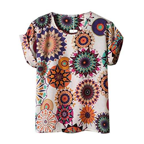 Fille en shirt longues Printed souris Beige Tops Sunflower mousseline chauve d't Multicolors femme manches ample ROPaLIA de pour soie Afpq08Rxw5