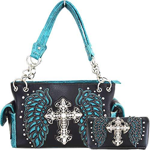 Western Style Cross Laser Cut Wings Purse Concealed Carry Handbags Women Country Shoulder Bag Wallet Set (2Black/Turq Set)