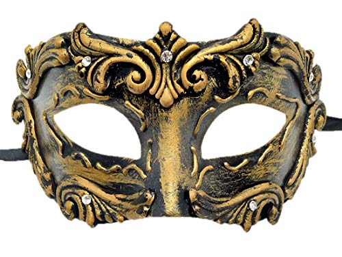 (Coolwife Mens Masquerade Mask Vintage Venetian Greek Roman Colombina Mardi Gras Party Mask (C)