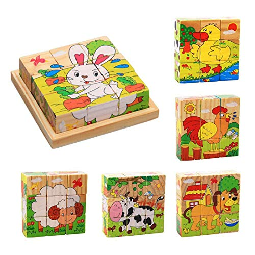 ZDYWY 9 Piece Wooden Jigsaw Blocks 3D Cube Puzzle Toy Dog Sheep Duck Chicken Rabbit Dairy Cow