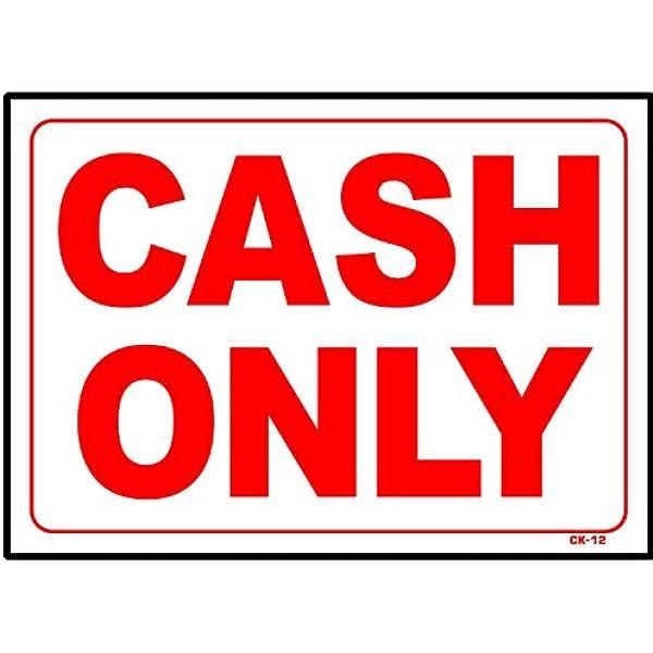 Stripes White Premium Acrylic Sign 36x24 Cash Only CGSignLab
