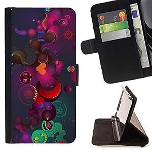 - COLORFUL PLANETS PATTERN ART COSMOS UNIVERSE - - Prima caja de la PU billetera de cuero con ranuras para tarjetas, efectivo desmontable correa para l Funny HouseFOR Sony Xperia Z1 L39